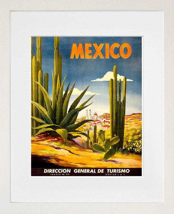 México Travel cartel mexicano lámina Retro (TR116)