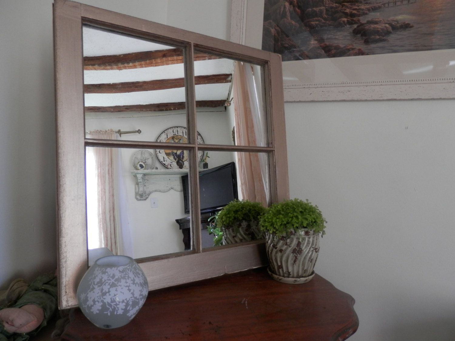 Old 4 Pane Window Mirror 24x24painted Vintage Gold Window Mirror Window Pane Mirror Arched Windows
