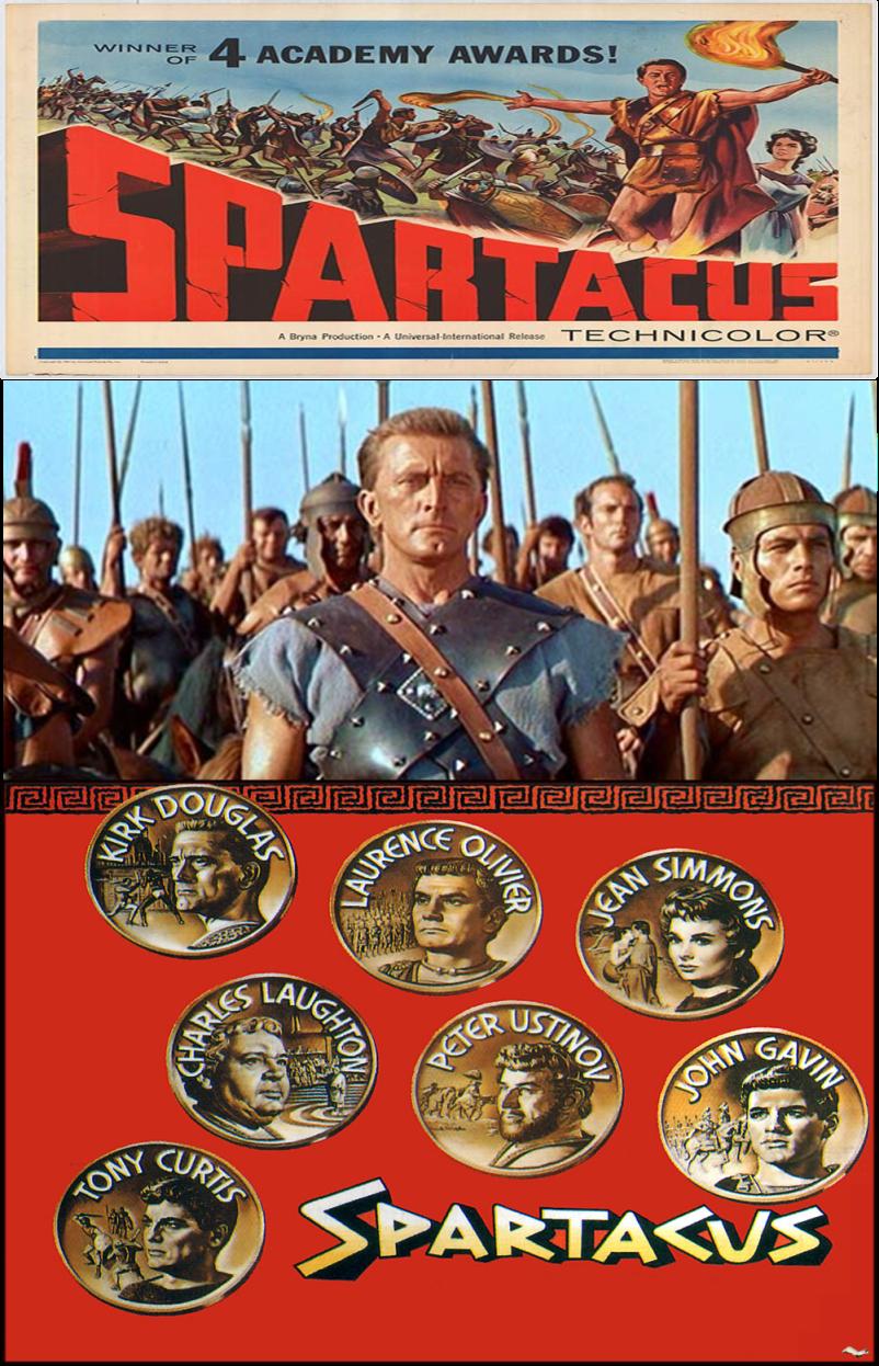 SPARTACUS é um épico norte-americano de 1960, realizado por Stanley Kubrick, e que conta a história do escravo romano Espártaco. O roteiro, escrito por Dalton Trumbo, é baseado em romance homônimo de autoria de Howard Fast, publicado em 1951.