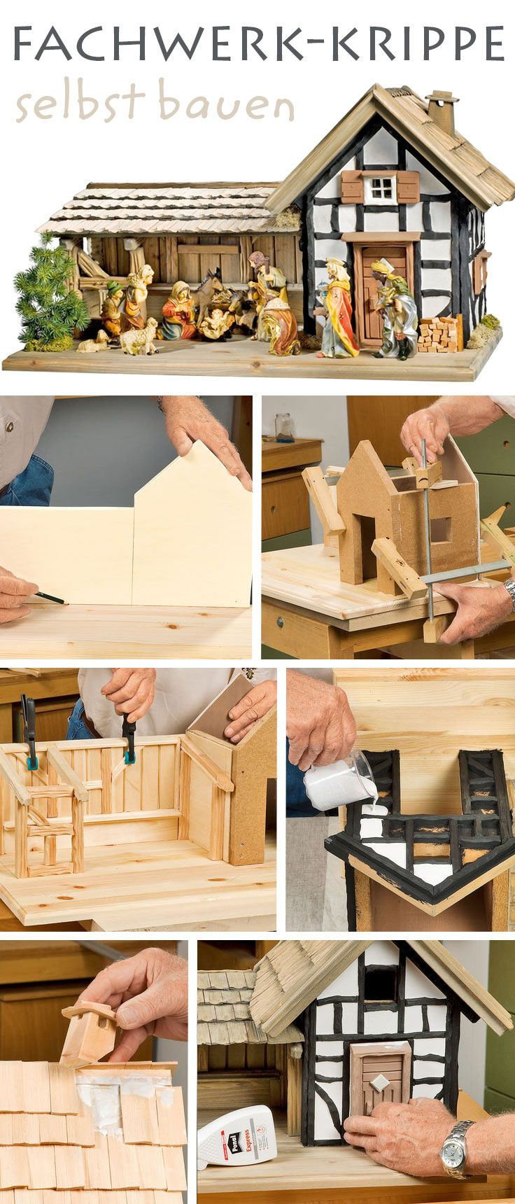 bauplan fachwerkkrippe fachwerk selbst bauen und weihnachten. Black Bedroom Furniture Sets. Home Design Ideas