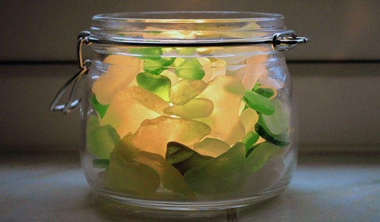 Windlicht Basteln windlicht basteln einweckglas füllen mit meerglasscherben diy