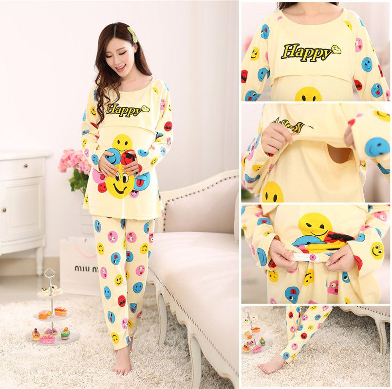 Summer Cotton Maternity Nursing Sleepwear Breastfeeding Pajamas For Pregnant  Women Pregnancy Feeding Dresses Nightwear c01929971