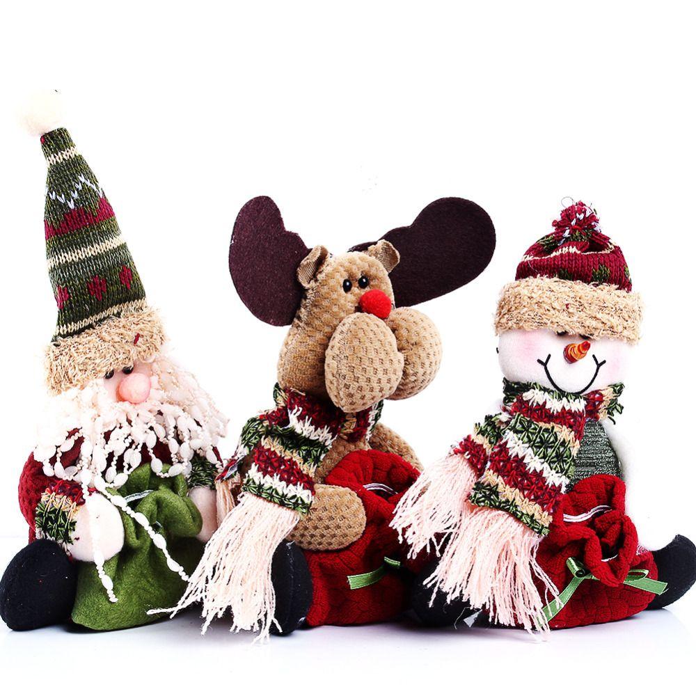 Cute santa claus towel christmas decor - 2016 3 Styles Reindeer Snowman Santa Claus Ornament Natal Cute Christmas Stocking New Year