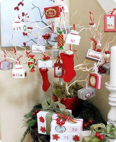 centros de mesa navideos con ramas de rbol