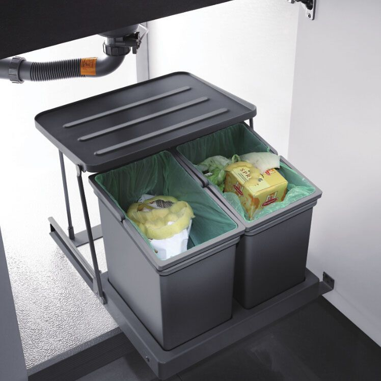 Pull Out Kitchen Under Sink Trash Garbage Rubbish Can Bin