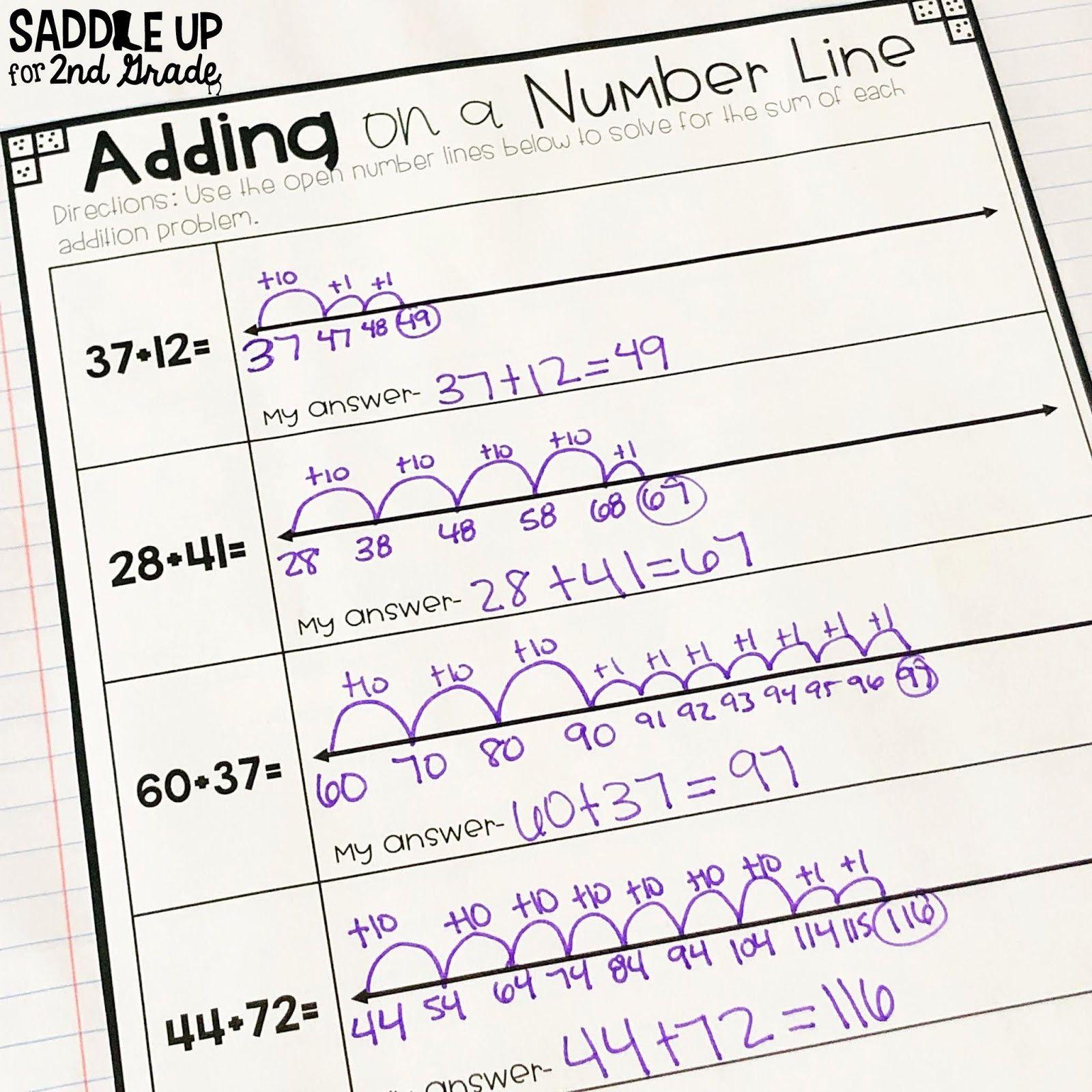 medium resolution of Addition Using Number Line Worksheets in 2021   Number line