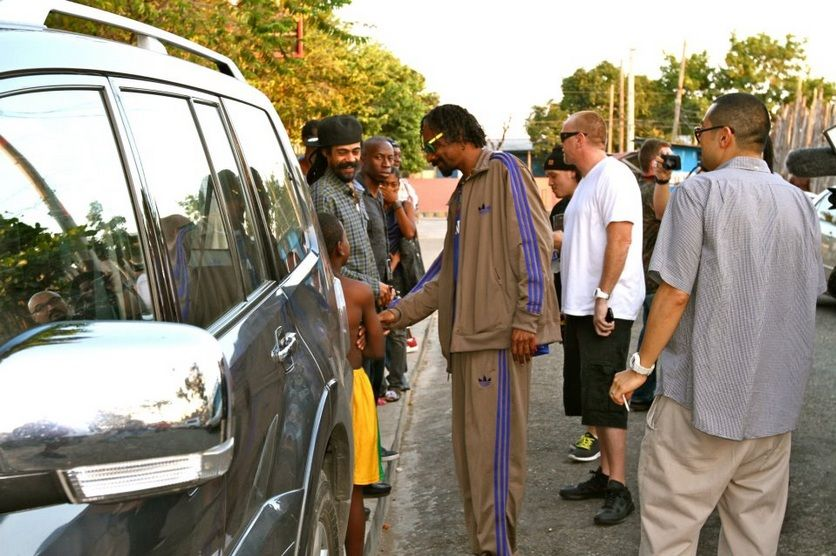 "Snoop in Jamaica with Damian ""Jr. Gong/GongZilla"" Marley."