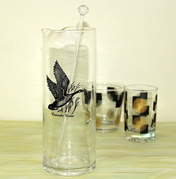 Vintage Game Bird Martini Pitcher, Cocktail Mixer, Vintage Canada Goose  Sportsman Barware With Glass Stir Stick, Retro Bar Glassware
