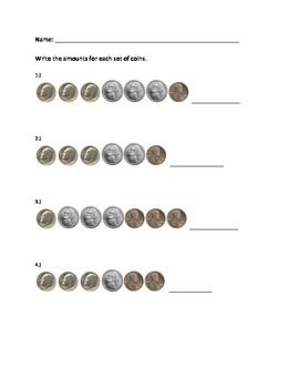 counting mixed coins 2 1st grade math money activities counting coins. Black Bedroom Furniture Sets. Home Design Ideas