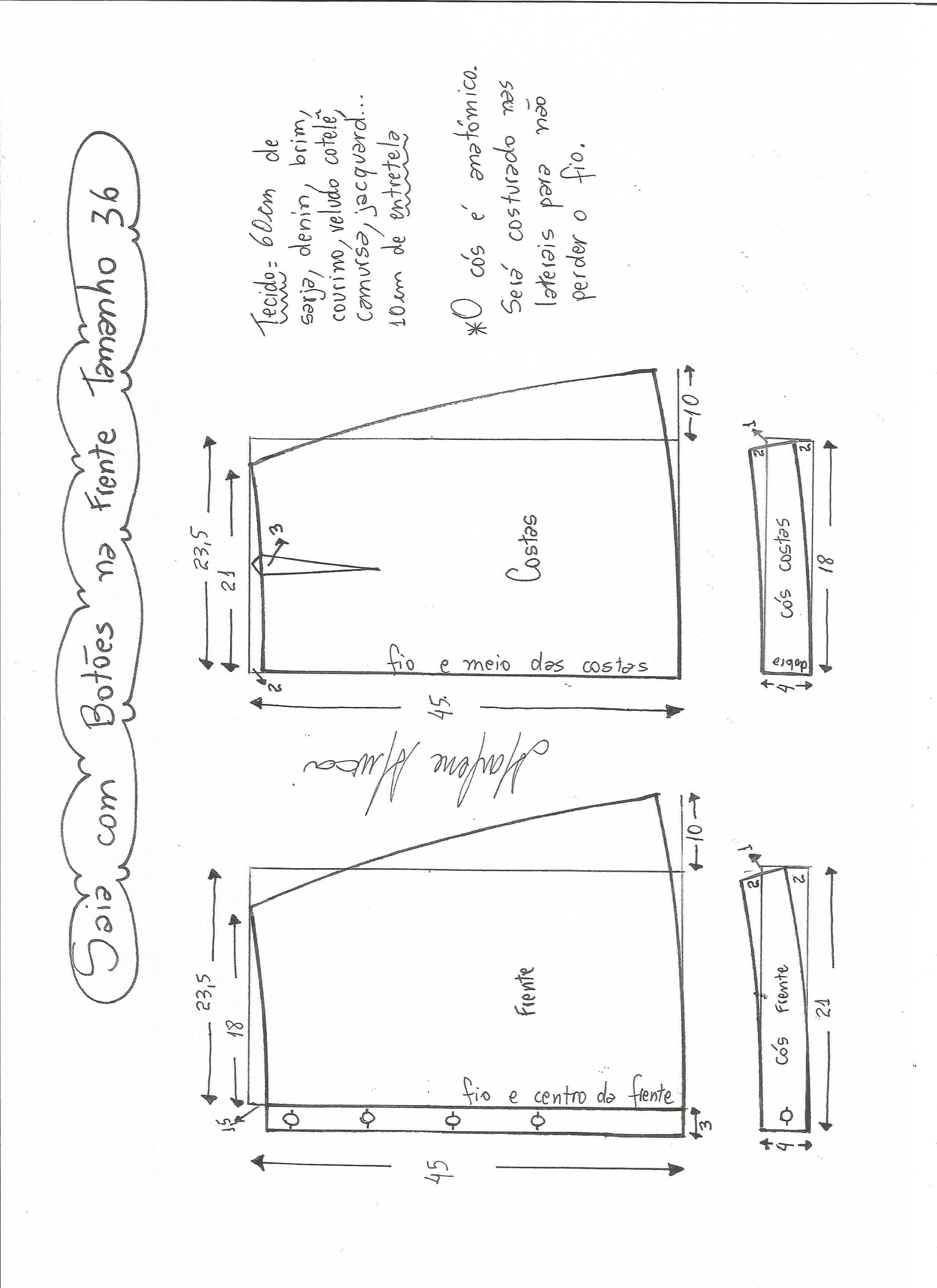 Patrones de falda campana con botones | costura