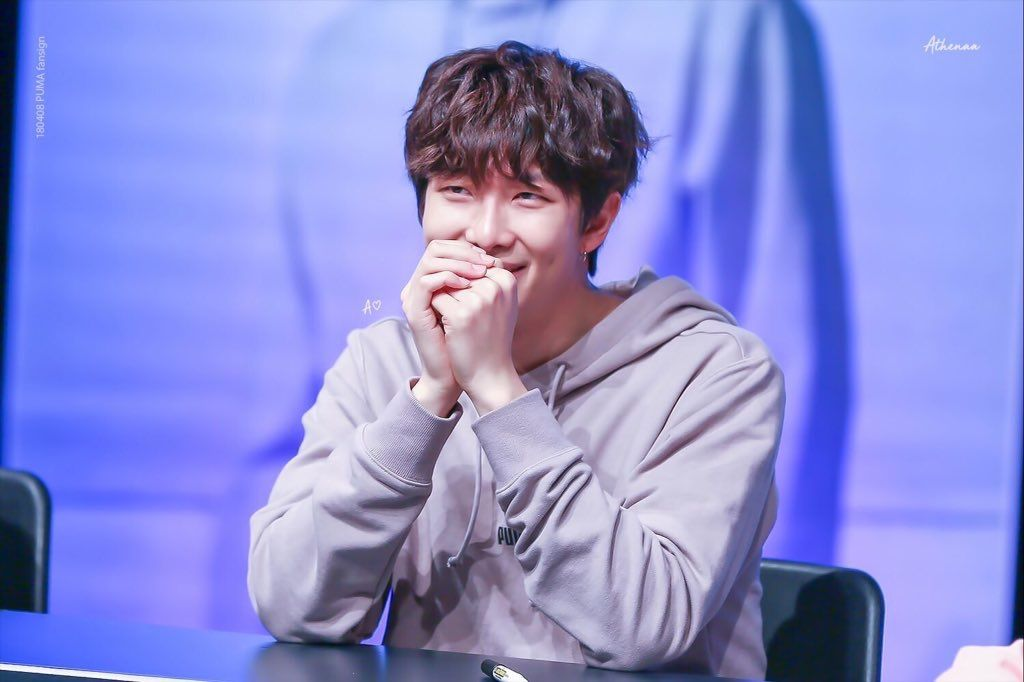 Kim Namjoon Rm Curly Black Hair Bts Puma 2018 Fansign Namjoon Rap Monster Kim Namjoon