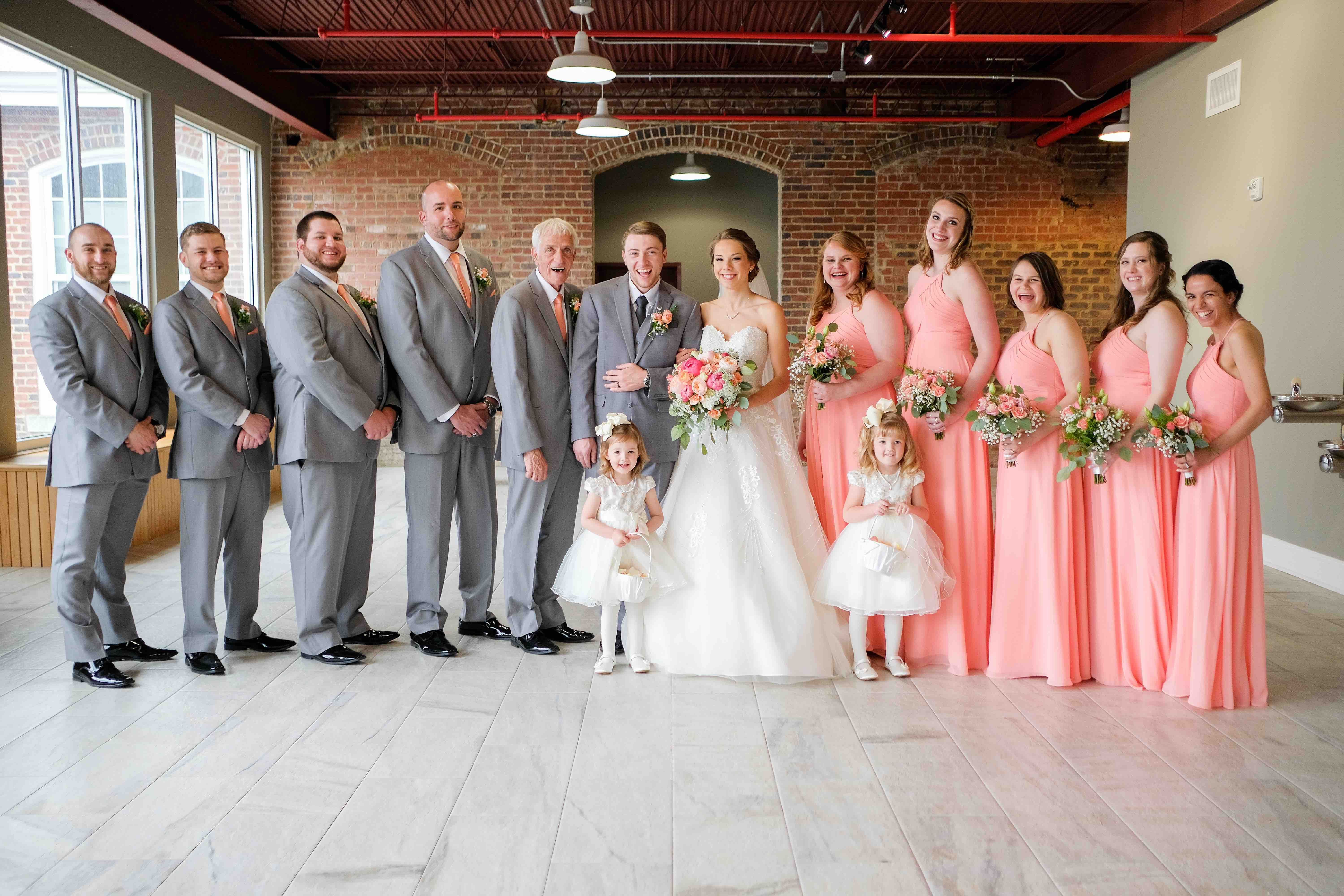 Industrial Wedding With Pops Of Coral Wedding Industrial