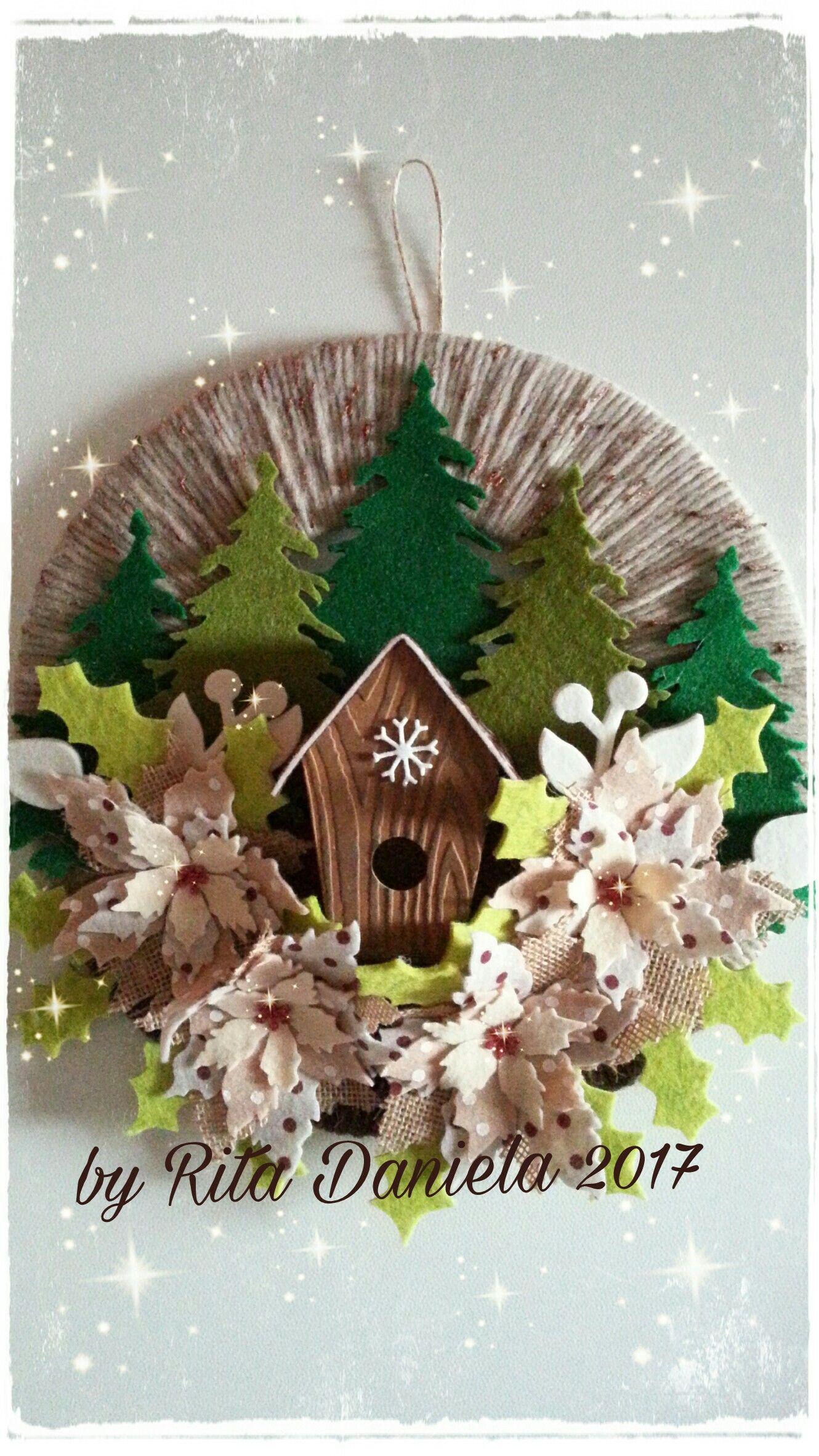 Addobbi Natalizi Feltro.Fuoriporta Natalizio Natale Feltro Pannolenci Wreaths
