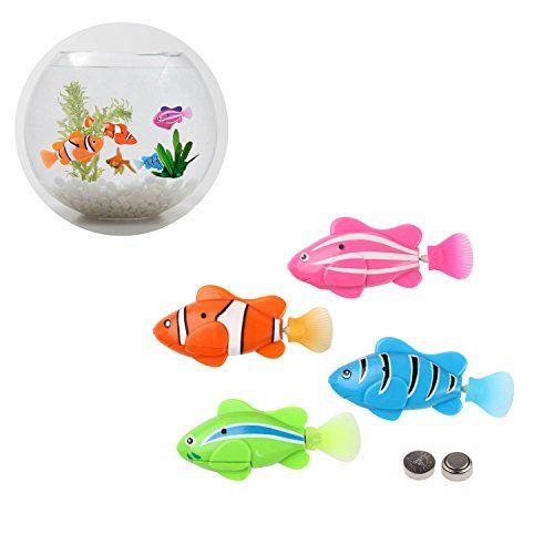 Cat Toys Ideas 4 Pcs Electric Bionic Battery Powered Robot Fish