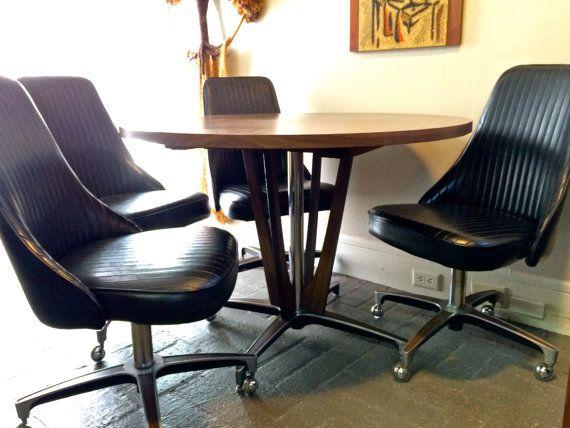 1966 mid century modern chromcraft pedestal dining table 5 black