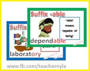 Suffix Cards with Definitions Illustrations and Examples $3.00