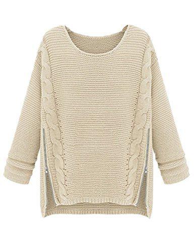 f21ee9a9de228 PrettyGuide Women Long Sleeve Side Zipper Cable Knit Pullovers Sweater Beige