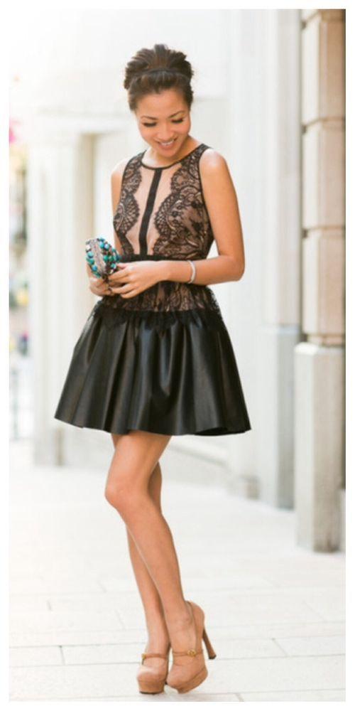 ca78fd2e271  NEW  BCBG Black LAYTON Lace Faux Leather Skirt Dress 2  338 RZF6X655   BCBGMAXAZRIA  Bubble  Clubwear