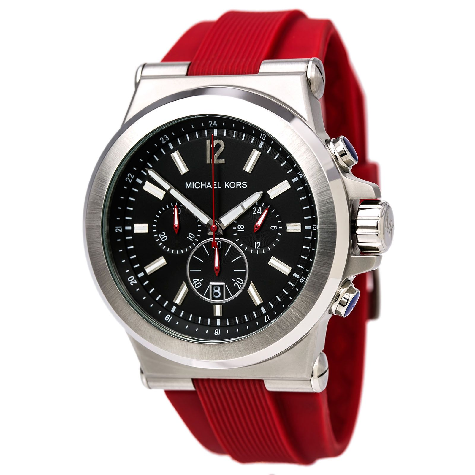 Michael Kors MK8169 Men\u0027s Black Dial Red Silicone Strap Chronograph Watch,