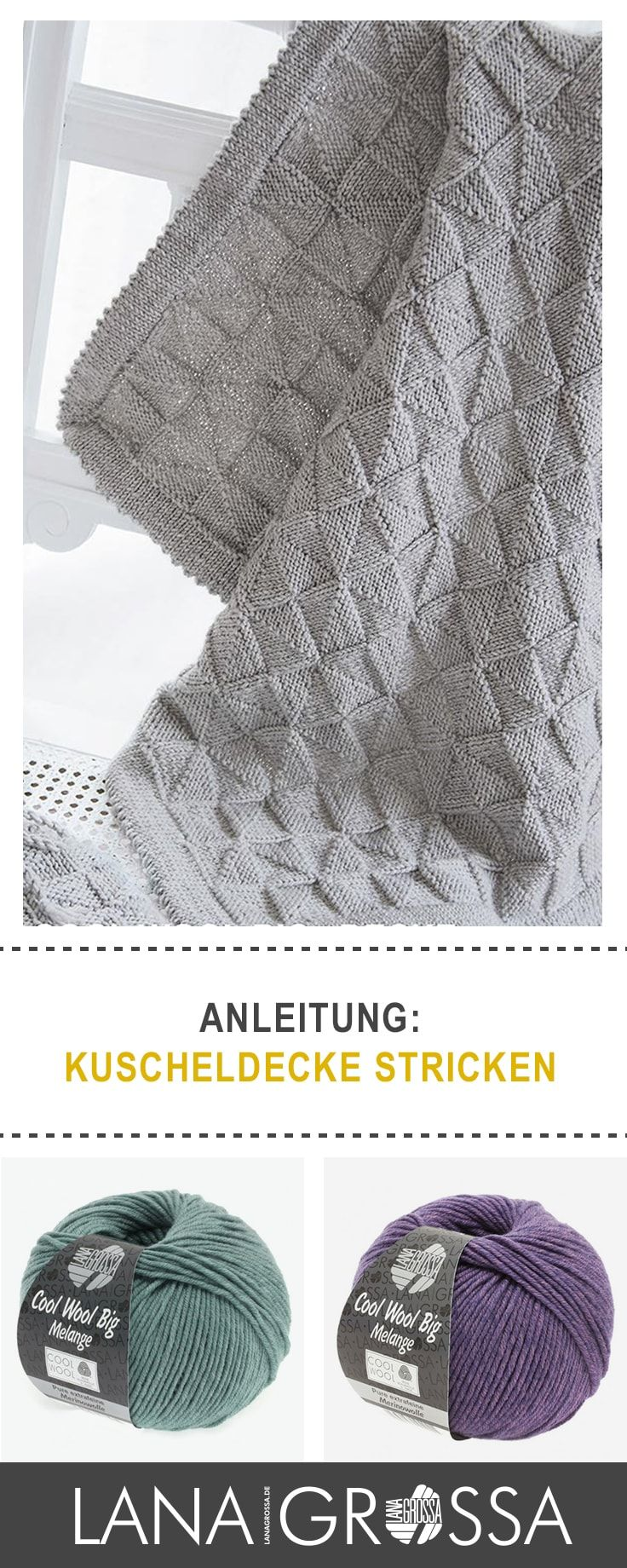 #Kostenlose Strickanleitung Kuscheldecke stricken / free knit pattern cozy knitted blanket via lanagrossa.de #knittingpatternstoys