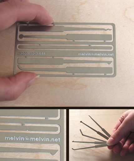 Business Card Of A Hacker With Fully Functional Lock Pick Set