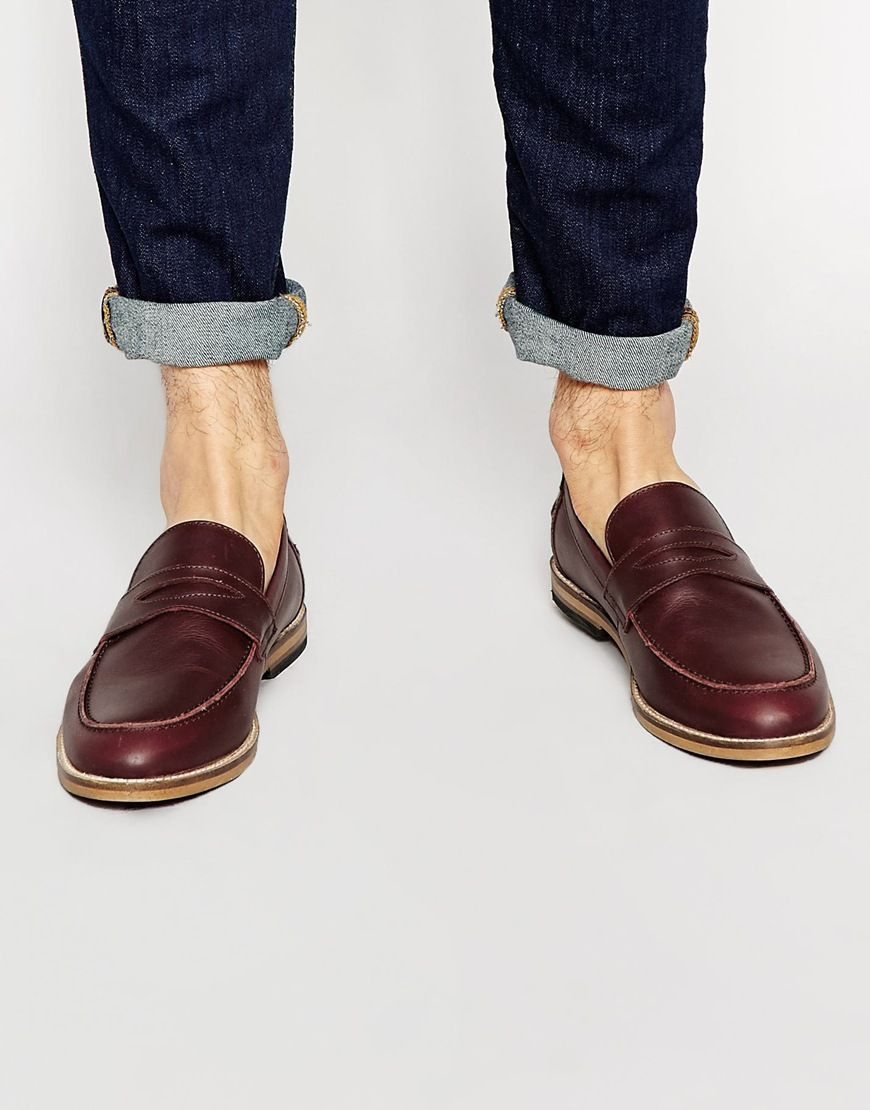 Loafers By Asos Matte Leather Upper Slip On Design Penny Strap Apron