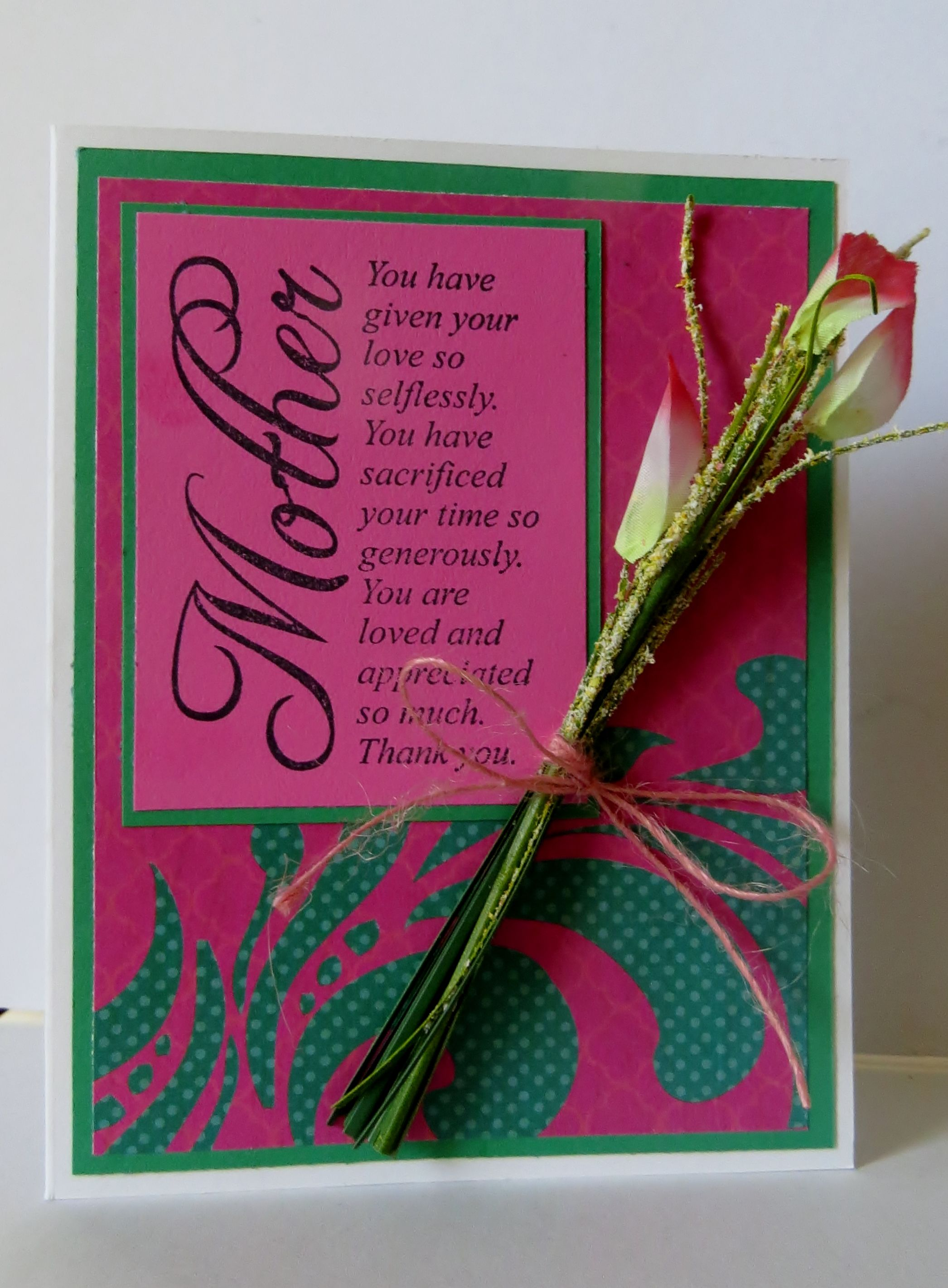 Pink and green Mothers Day Card.
