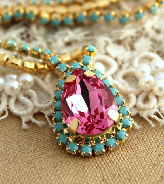 Crystal turquoise pink Swarovski necklaceBridal by iloniti, $78.00