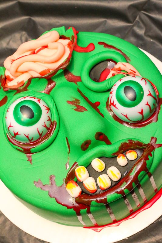 Outstanding Zombie Cake Birthday Cake Fondant Cake Shelbys Cakes Zombie Funny Birthday Cards Online Elaedamsfinfo