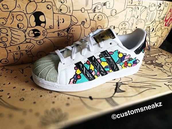Custom Adidas Superstar For Men And Women Adidas Custom Hand Painted Colorful Unisex Sizes Adidas Custom Adidas Superstar Sneakers Men Fashion Custom Adidas