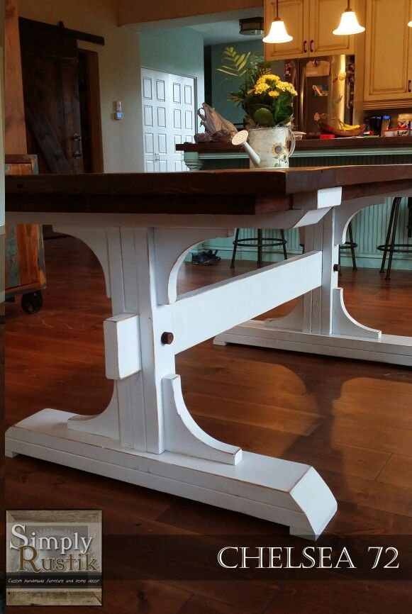Handmade Double Pedestal Farmhouse Dining Table The Chelsea 72 With An American Walnut Stained Top A Farmhouse Dining Table Wood Table Diy Diy Farmhouse Table