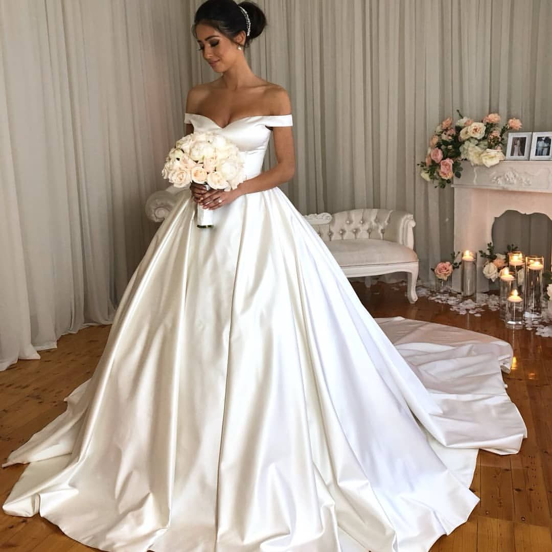 Personalisedweddingscouture We Hunted Down A Few Pics Of Your Incredible Bride Ellisha O Off Shoulder Wedding Dress Satin Wedding Gown Ball Gown Wedding Dress