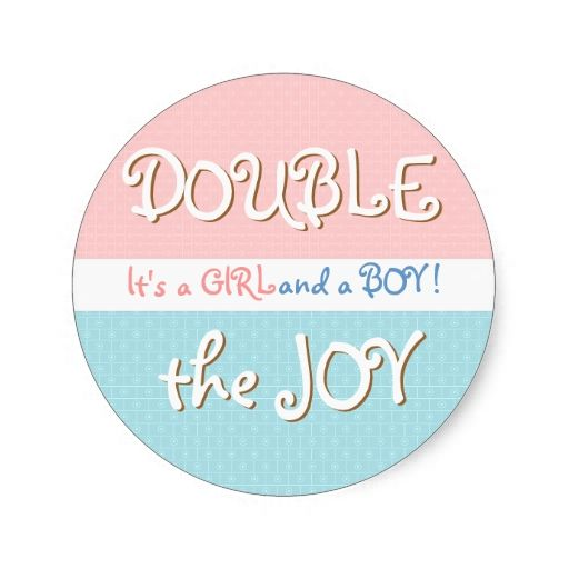 Pink and Blue Circles and Dot Twin Baby Sticker