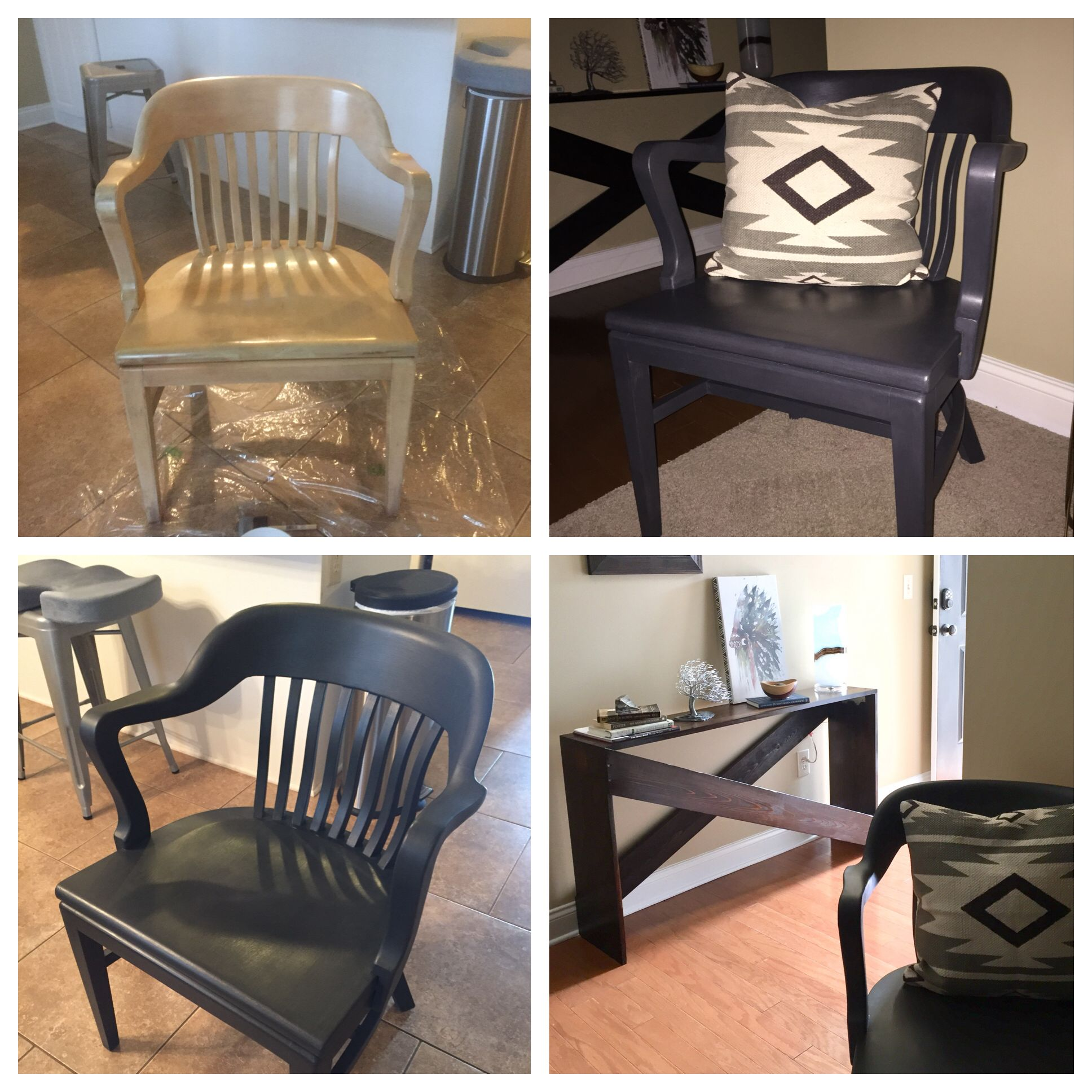 white wood bankers chair with arms