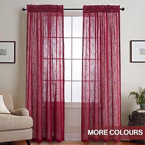 Faux Linen Sheer Window Curtains 2 Panels Rod Pocket Drapes Bedroom ...