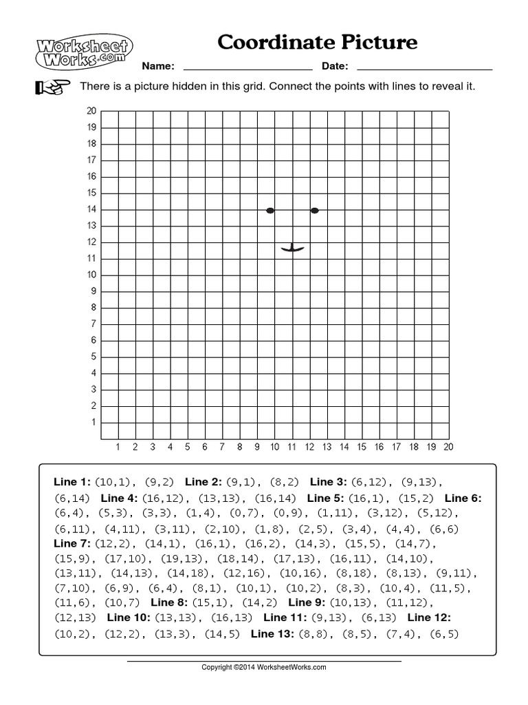 Coordinate Picture Worksheets Works Coordinate Plane Worksheets Coordinate Grid Coordinate Plane