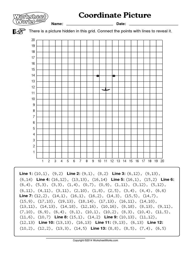 Coordinate Picture Worksheets Works   Coordinate plane worksheets [ 1024 x 768 Pixel ]