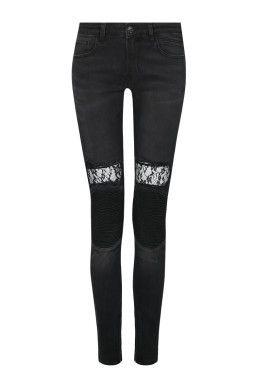 e315dc96a7e668 Schwarze Biker-Jeans TALLY WEiJL