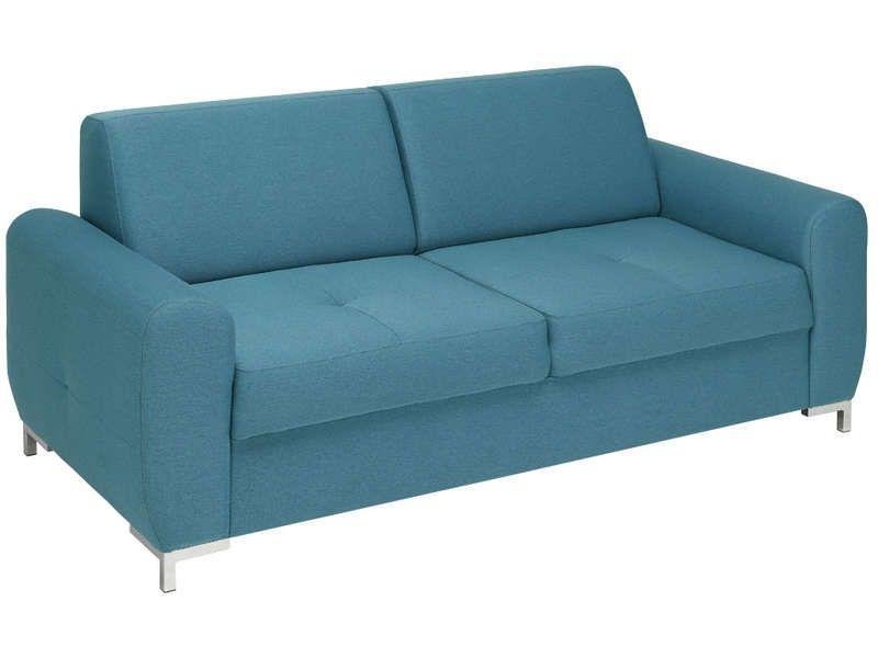 Canapé Fixe Places LEXX Coloris Bleu Vente De Canapé Droit - Canapé 3 places pour idees decoration interieur appartement