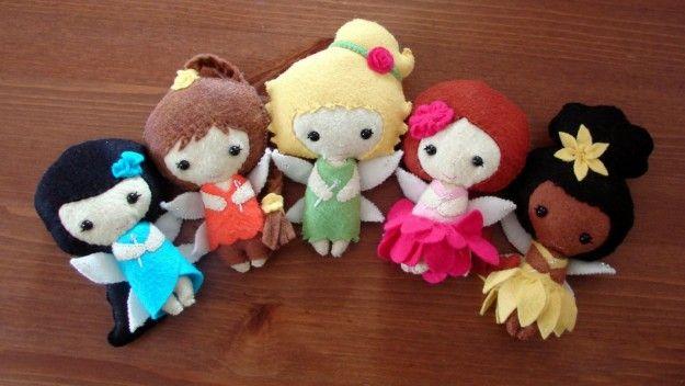 Giocattoli ecologici bamboline feltro