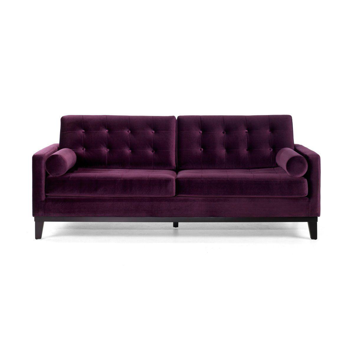 Armen Living Centennial Purple Velvet Sofa