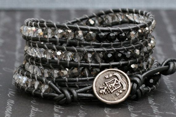 wrap bracelet ombre crystals on pewter leather by CorvusDesign, $55.00