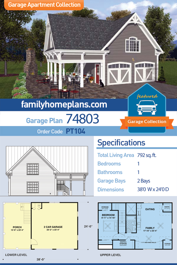 Traditional Style 2 Car Garage Apartment Plan Number 74803 With 1 Bed 1 Bath Carriage House Plans Garage Apartment Plan Garage Apartments