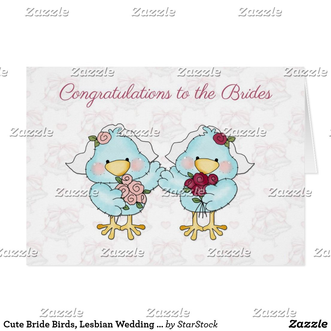 Cute Bride Birds Lesbian Wedding Congratulations Card Cat N Pet