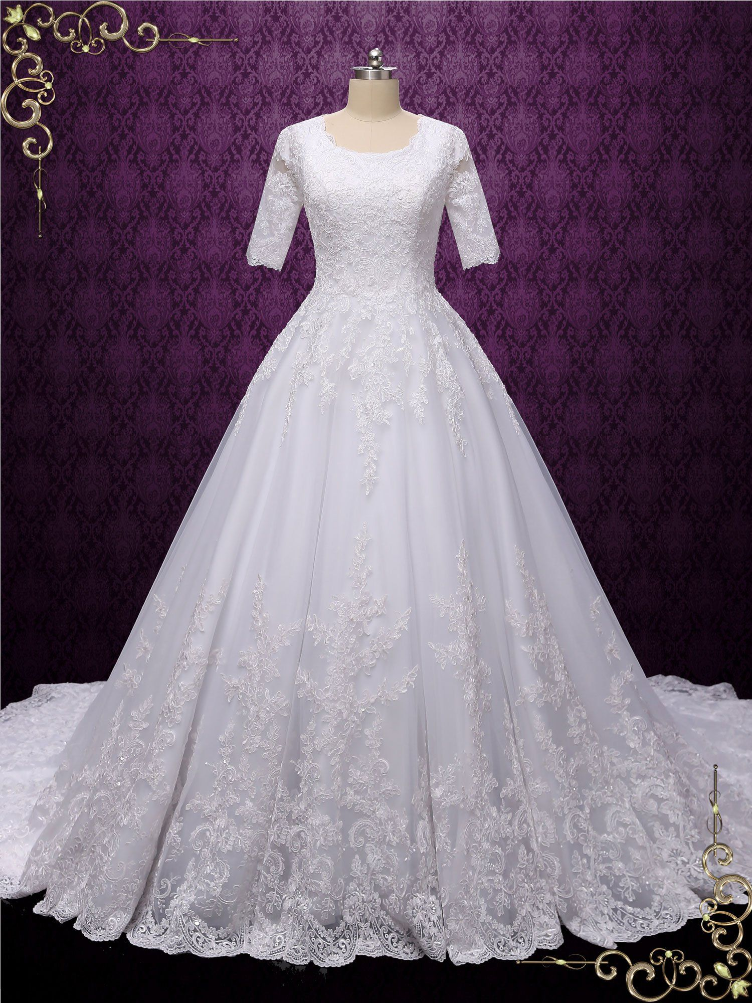 Modest Ball Gown Wedding Dress With Sleeves Madison In 2020