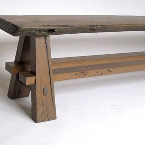 Rustic Bench Made With Reclaimed Barn Wood And Oak Slab By
