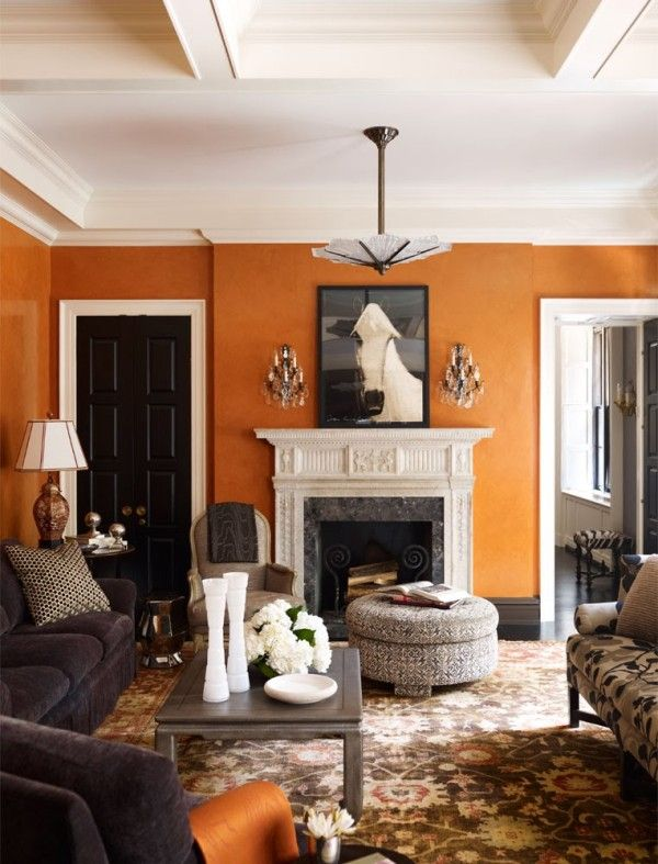 Burnt orange walls A living room decorated by Nick Olsen