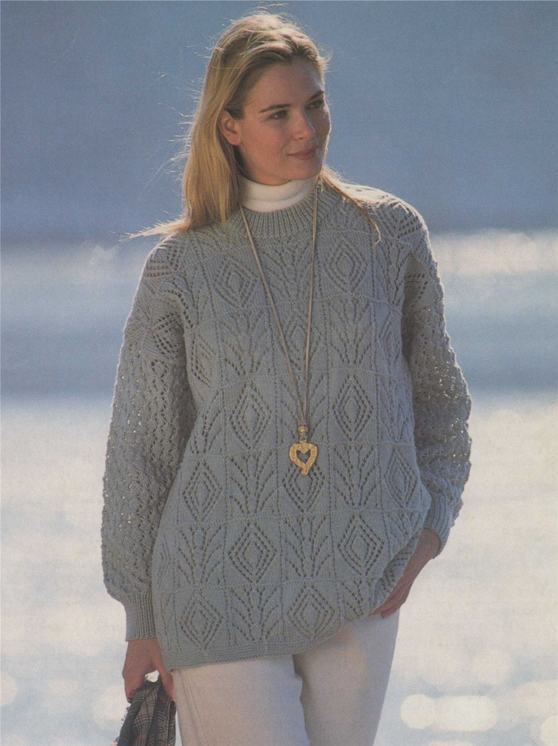 Womens Tunic Sweater PDF Knitting Pattern : Ladies 30 - 32, 34 -36 ...