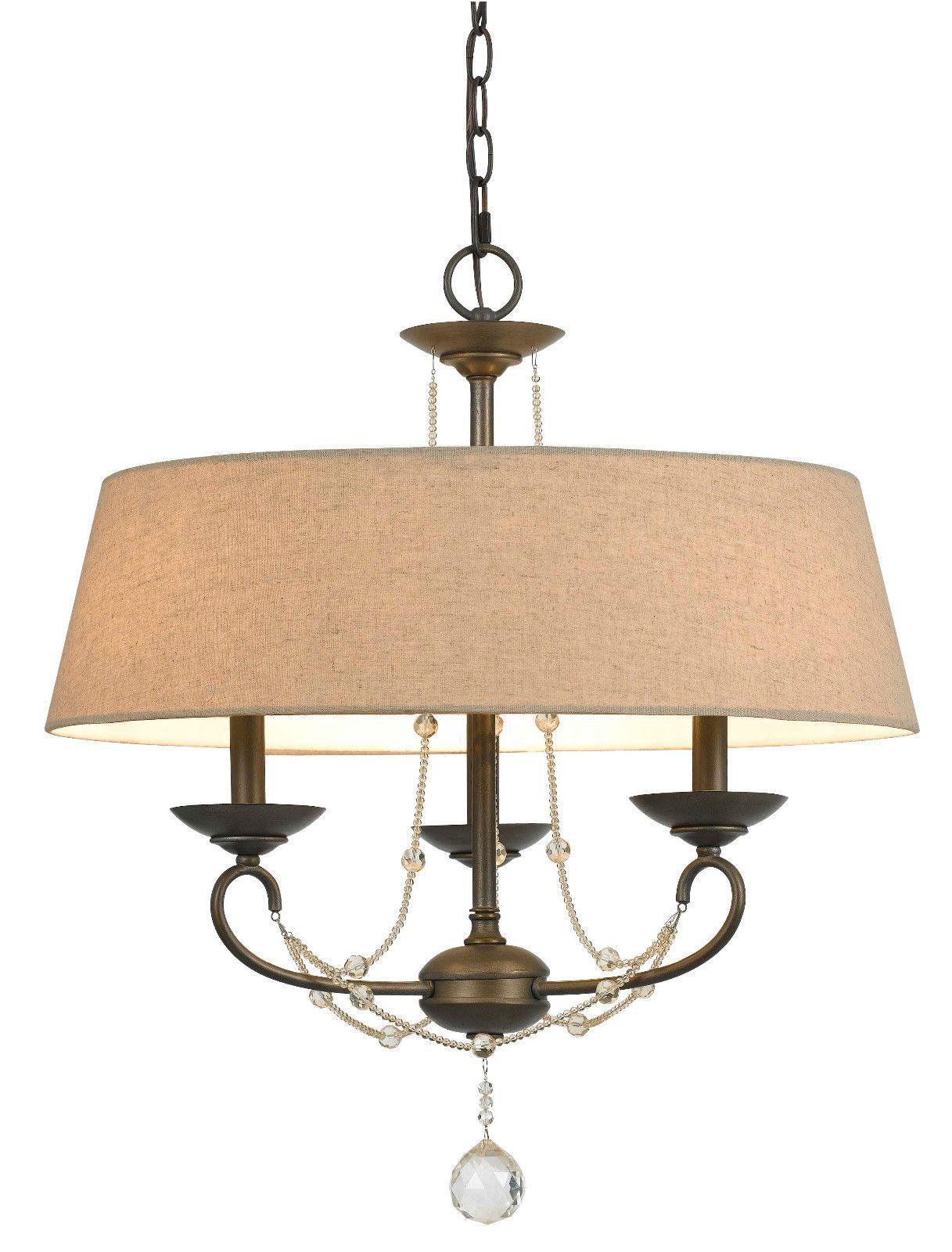 bronze iron burlap crystals drum chandelier 3 lights 22 wx19 h