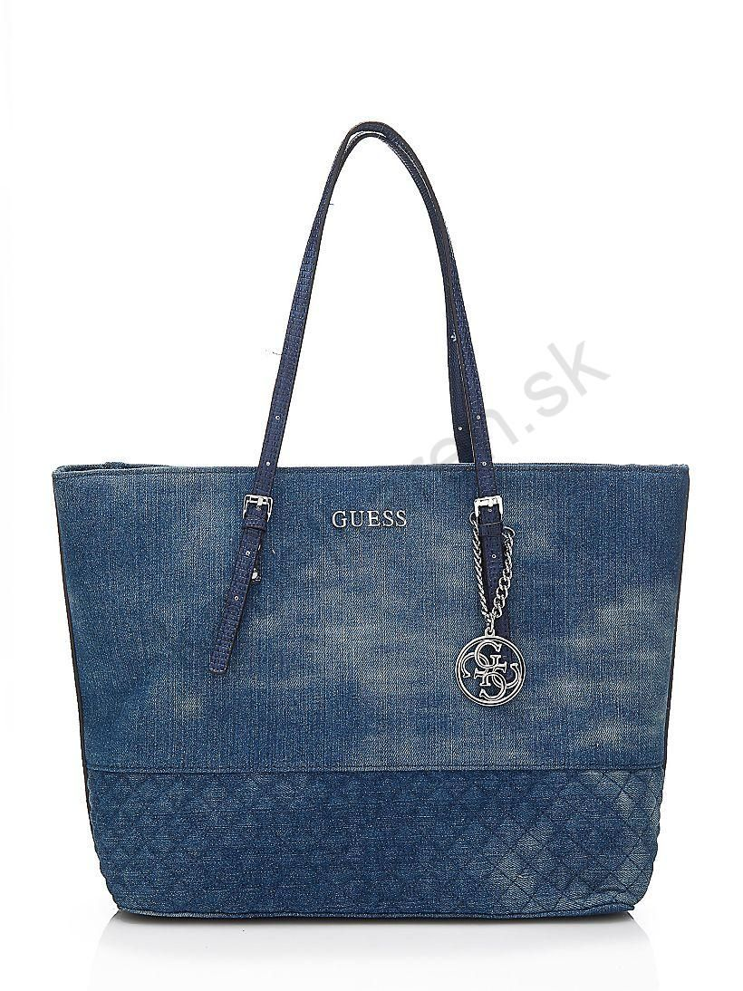 Kabelka GUESS Delaney medium jeans Shopper  4bc15755075
